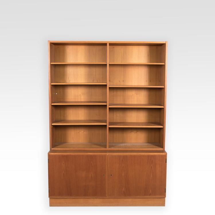 Hundevad teak bookcase w cabinet base signed for Bookcase with cabinet base plans