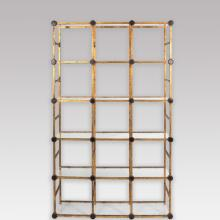 Gilt Metal Etagere with Blown Glass Medallions