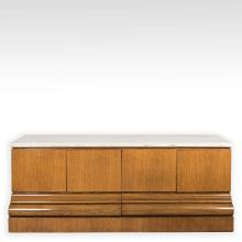 Waterfall Style Oak Marble Top Credenza - Baker