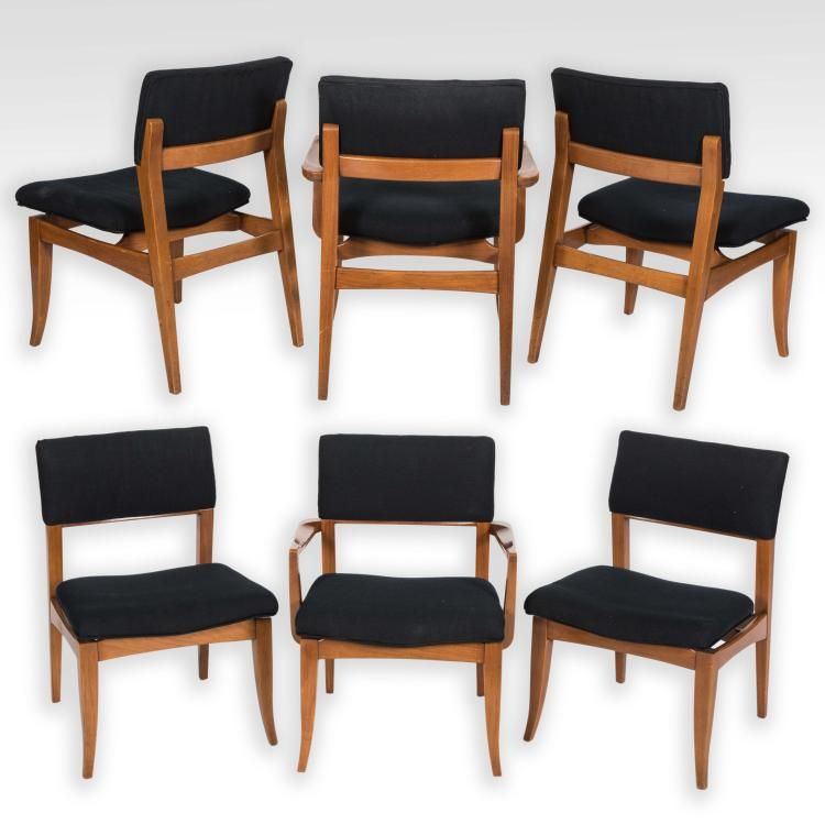 set of six teak dining room chairs signed