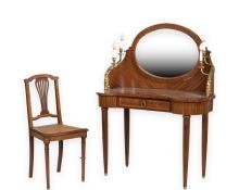French Vanity with Bronze Ormolu and Chair