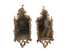 Pair Giltwood Mirrored Shelves