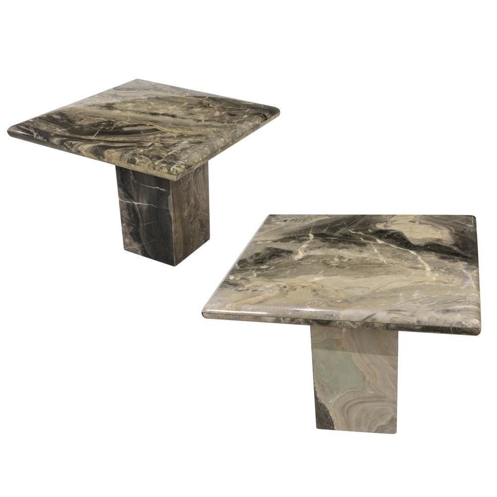 Italian Marble Plinth Base End Tables