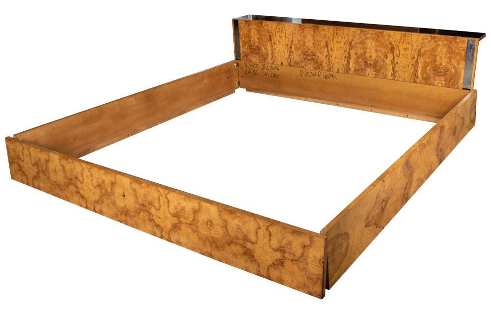 Milo Baughman Style - Burl King Size Bed
