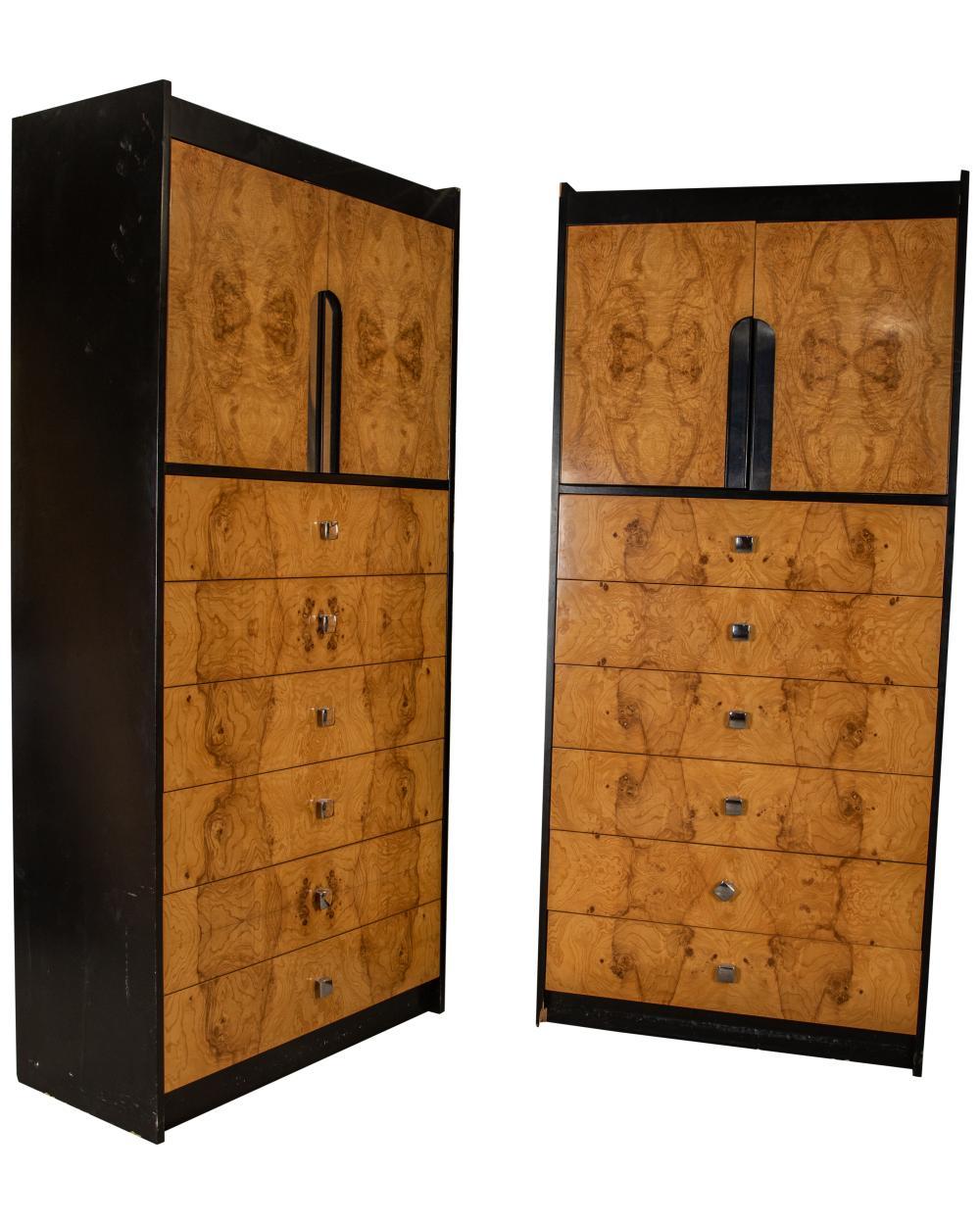 Milo Baughman Style - Burl Cabinets