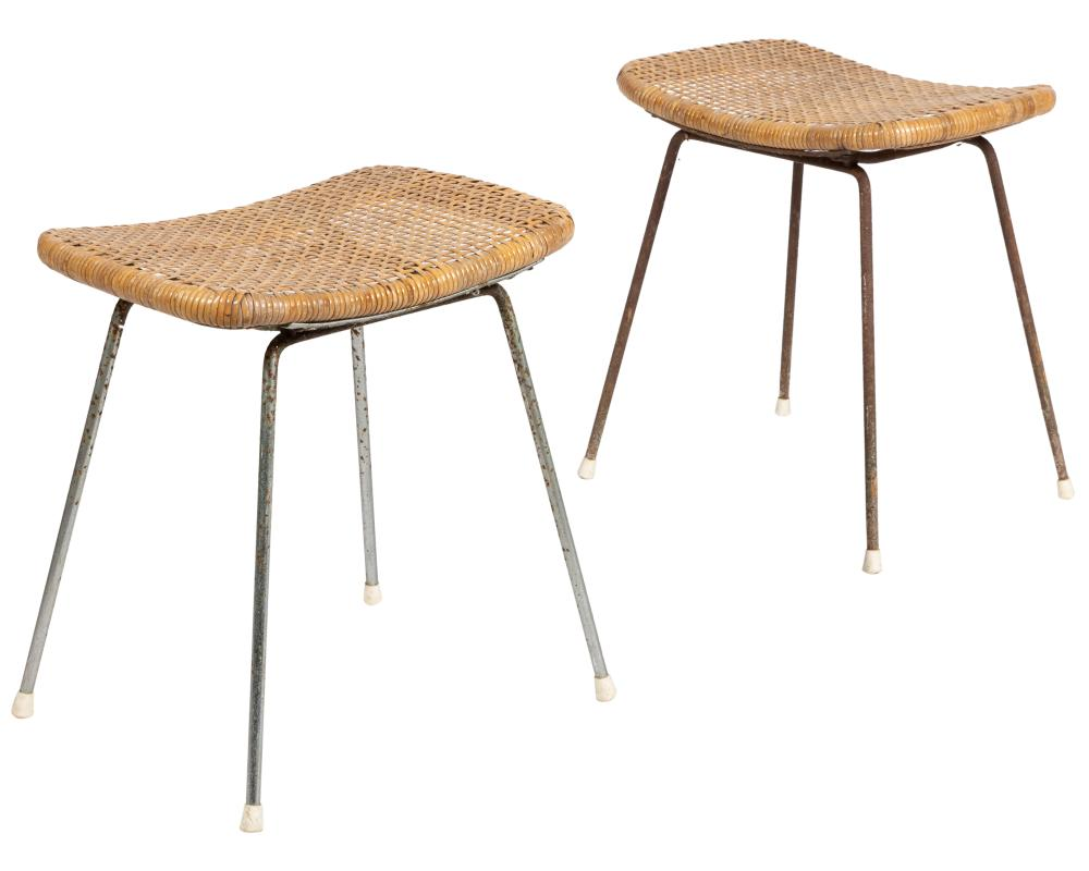 Woven Wicker and Chrome Stools