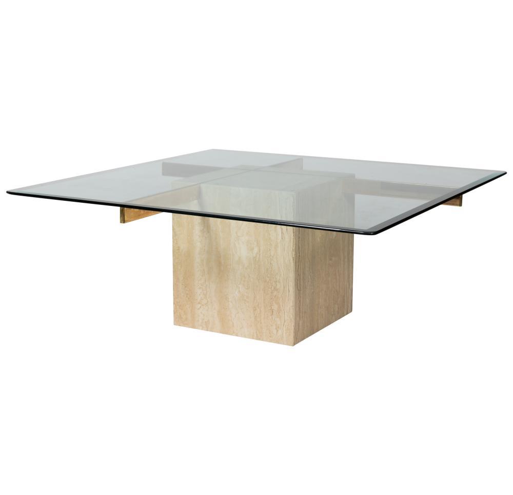 Artedi - Travertine & Glass Coffee Table