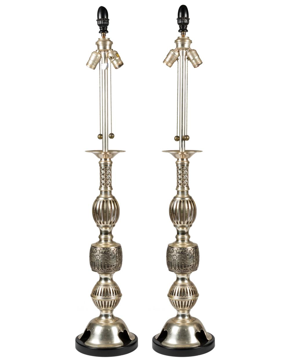 Marbro Lamp Company - Pewter Brass Oriental Lamps