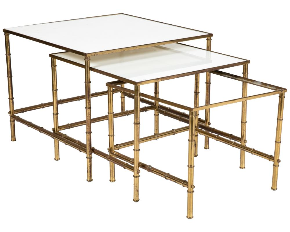 Faux Bamboo - Brass & Glass Nesting Tables