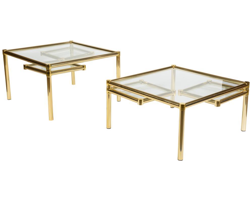 Milo Baughman Style - Brass Swivel Tables