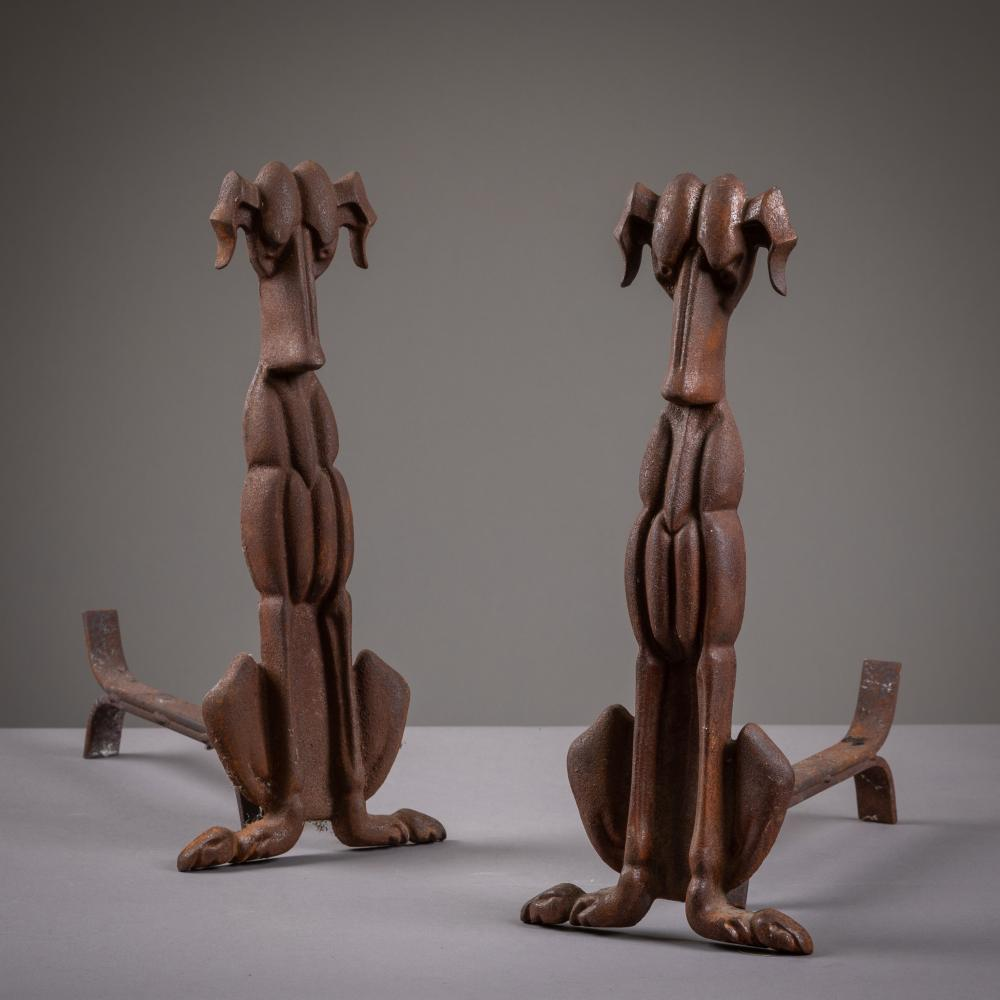 Modernist Dog Form  Andirons