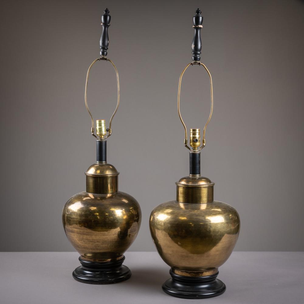 Brass Mid Century Lamps - Pair