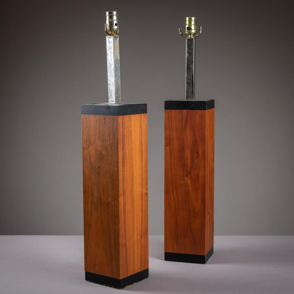 Modern Walnut Lamps - Pair