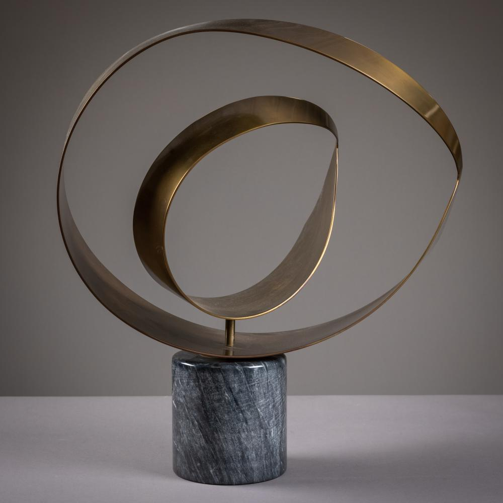 Curtis Jere - Kinetic - Brass & Marble - Sculpture