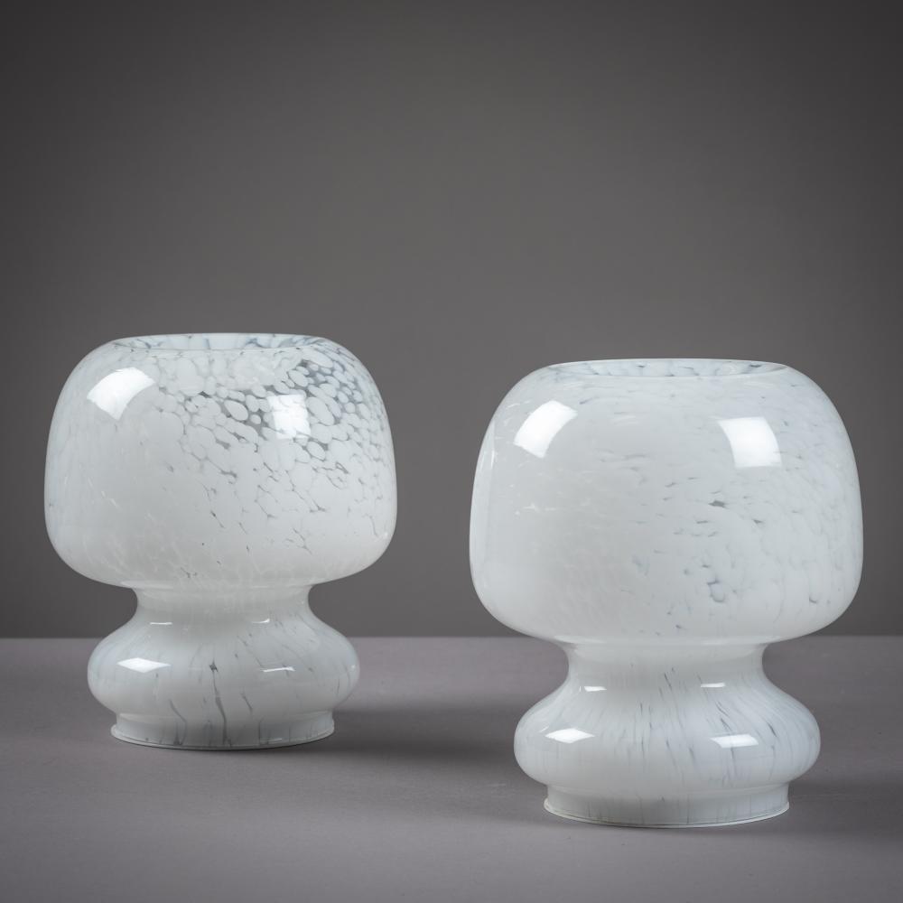 Italian Murano Mushroom Lamps - Pair