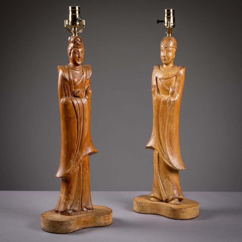 James Mont - Oriental Oak Lamps - Pair