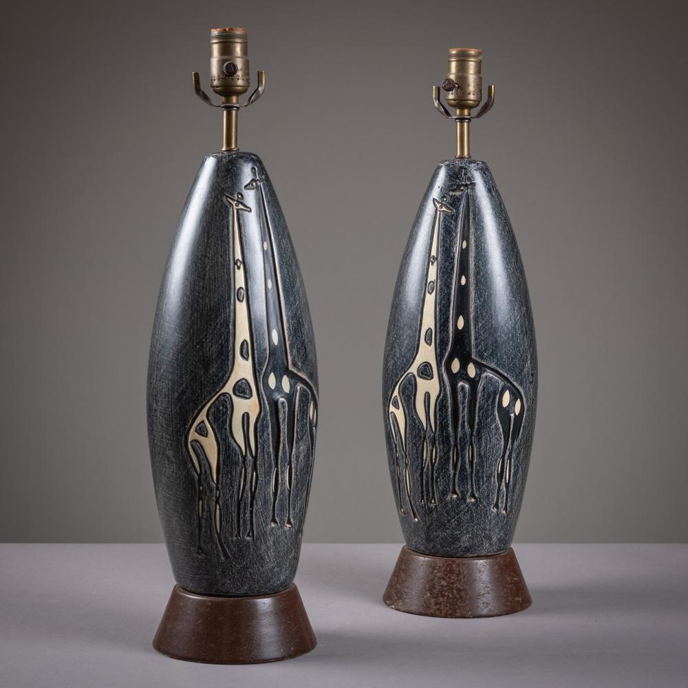 Mid Century - Giraffe Embossed Lamps - Pair