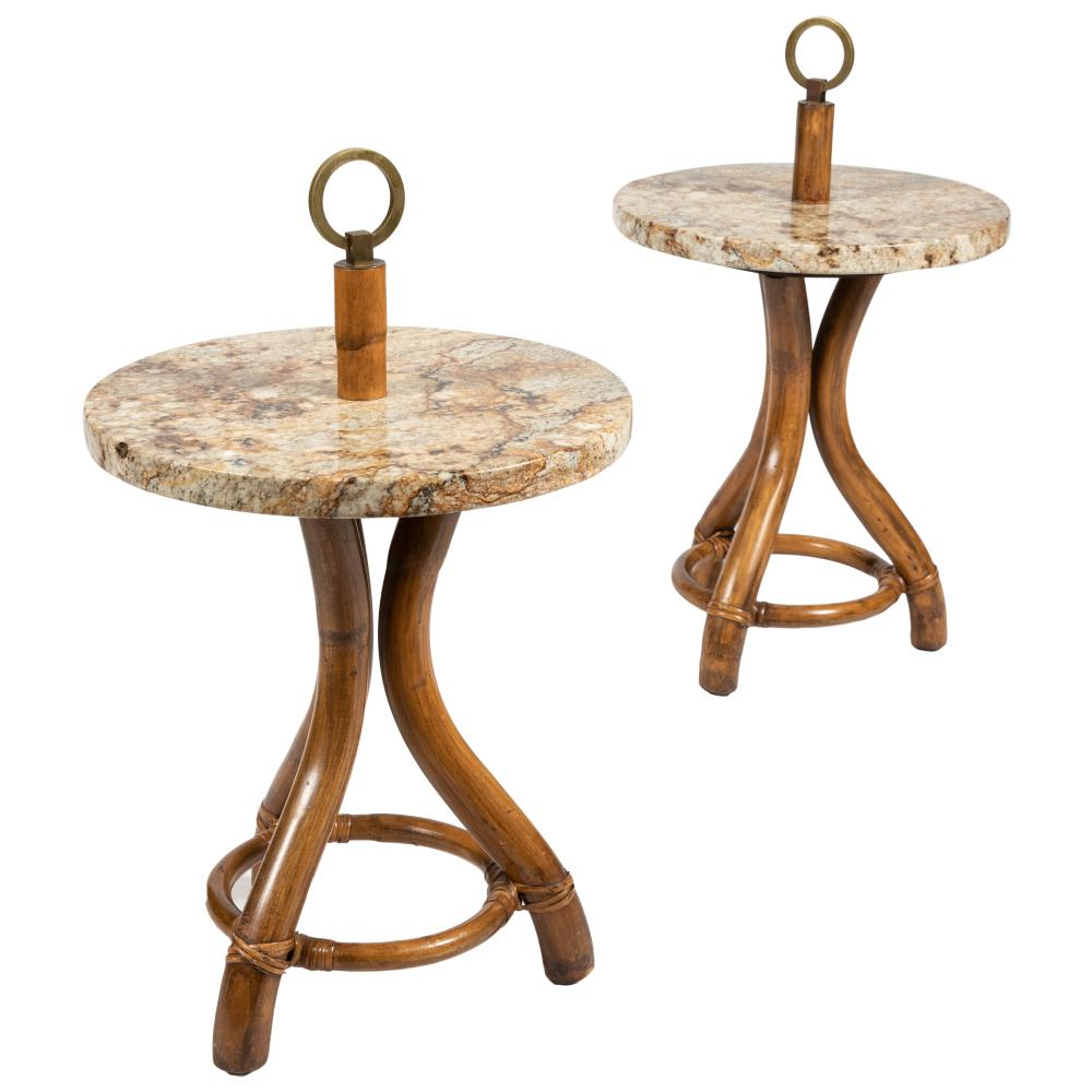 Rattan, Stone & Brass - Side Tables
