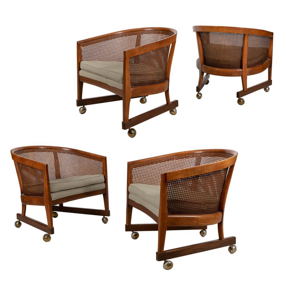 Founders - Cane & Walnut Barrel Chairs