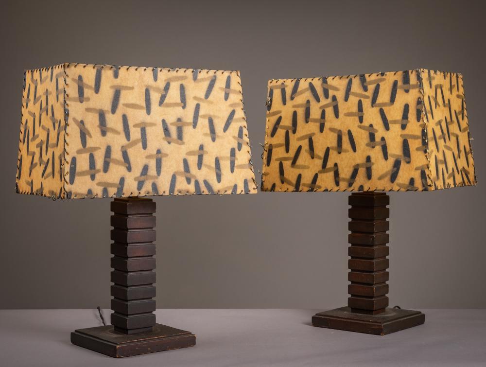 Mid Century - Mahogany - Leather Hide Shades - Lamps - Pair