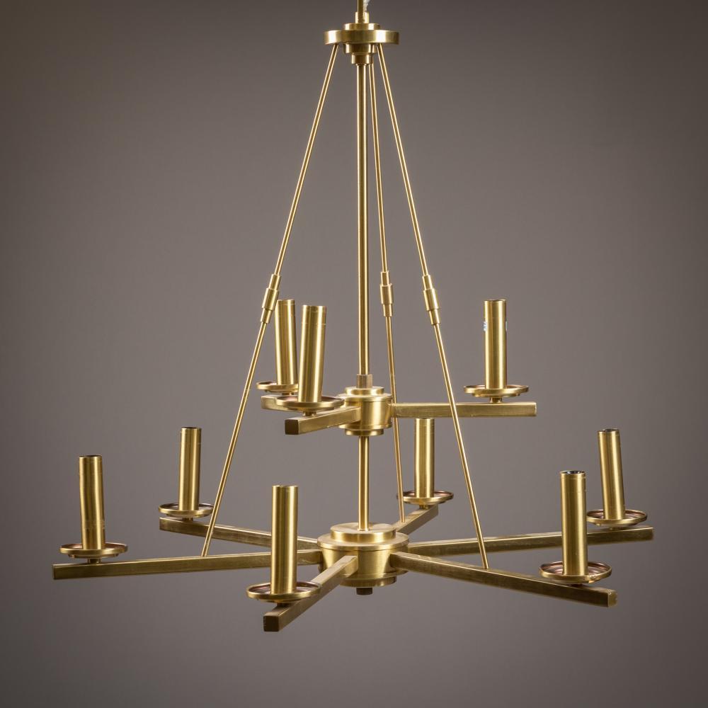 Modernist Nine Light Chandelier