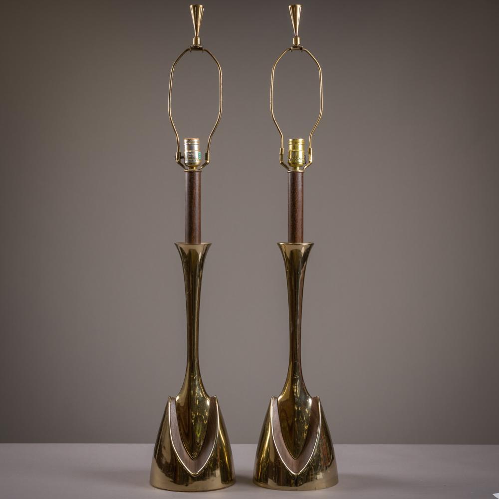 Laurel Lamp Co. - Brass & Faux Walnut Lamps