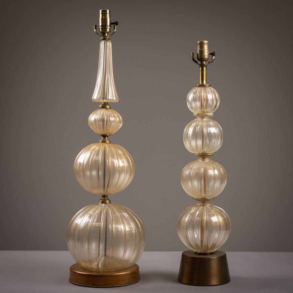 Murano Glass Stacked Ball Lamps - Two