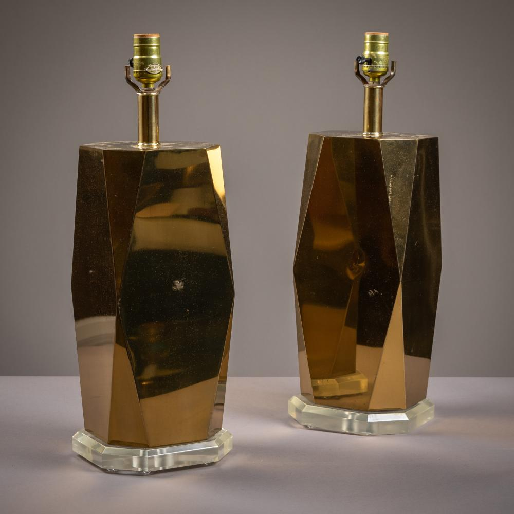 Brass & Lucite Lamps - Pair
