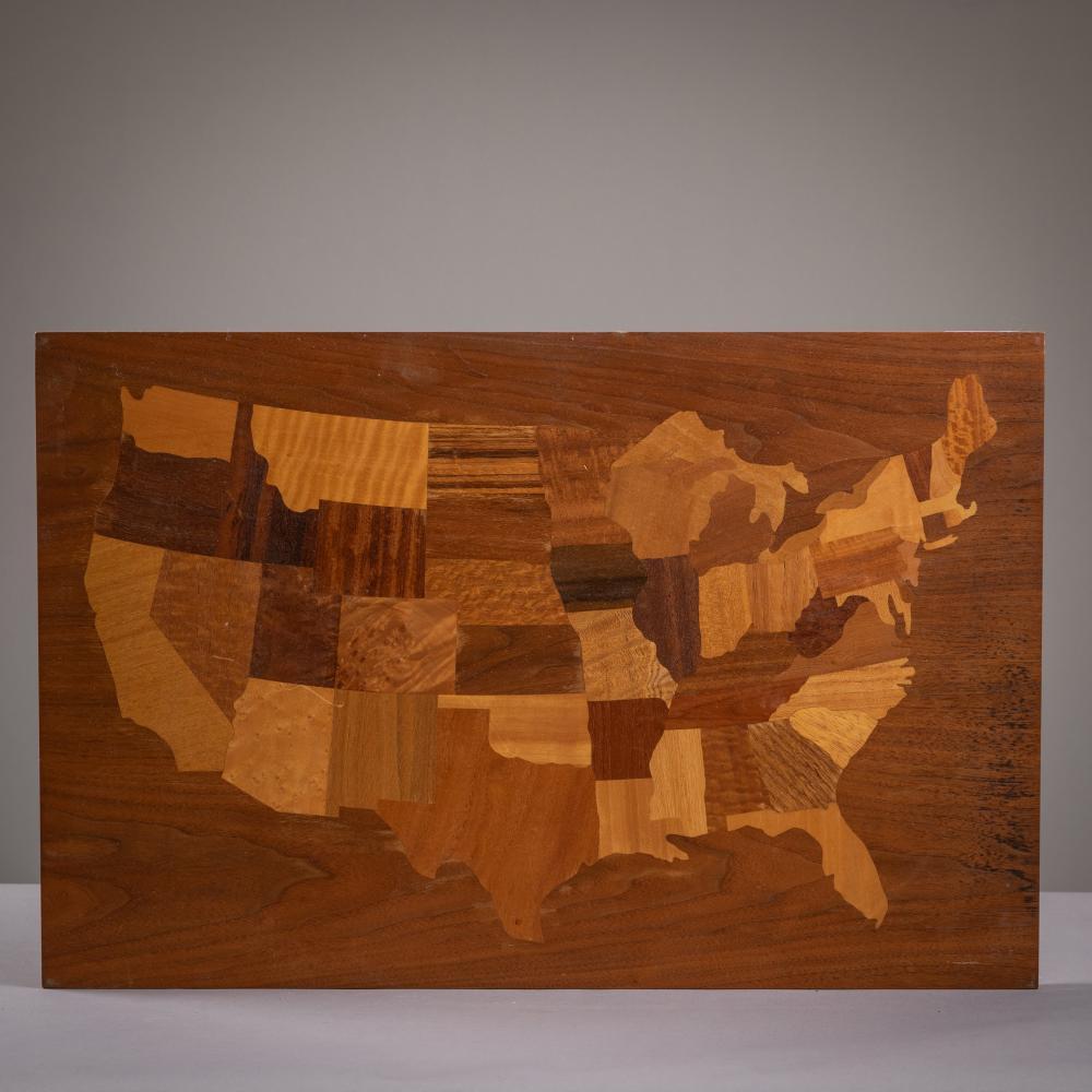 Inlaid Mixed Wood Map