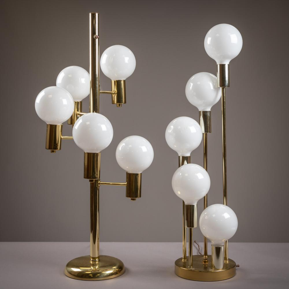 Brass Cascading Table Lamps - Two
