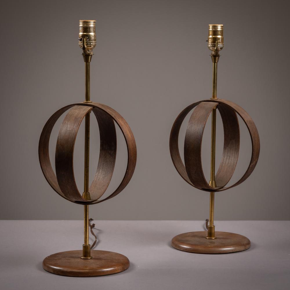 Teak Bentwood Lamps - Pair
