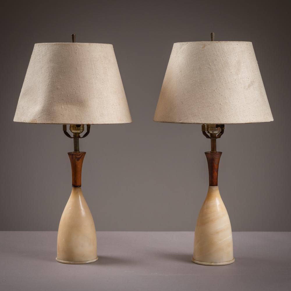 Italian Marble & Walnut Lamps
