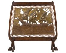Embossed Copper Mid Century Fire Screen