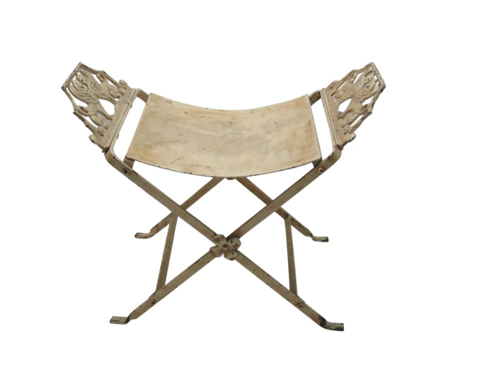Egyptian Revival Iron Griffin Bench