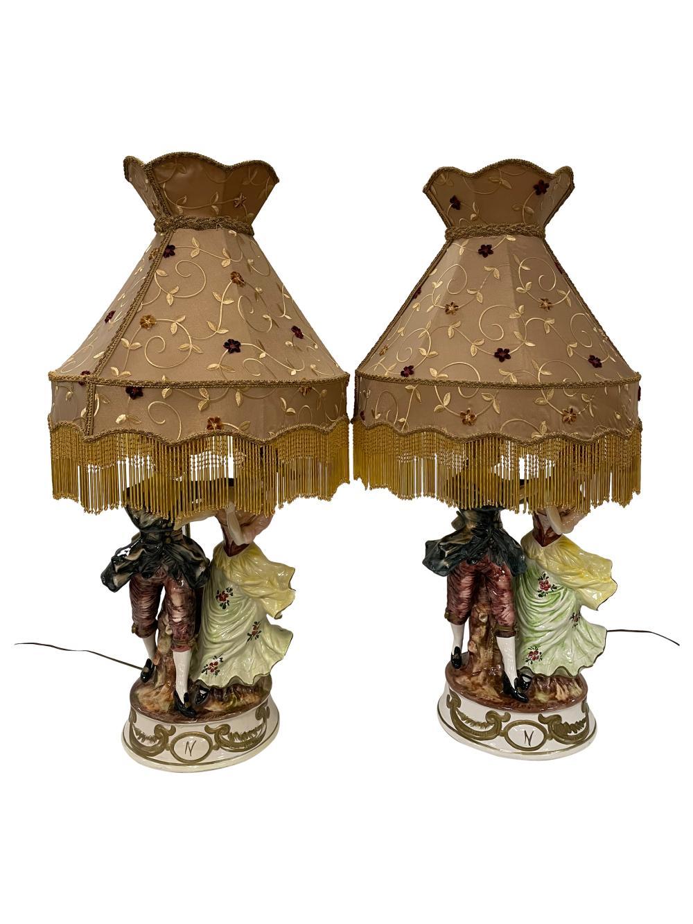 Capodimonte Figural Lamps