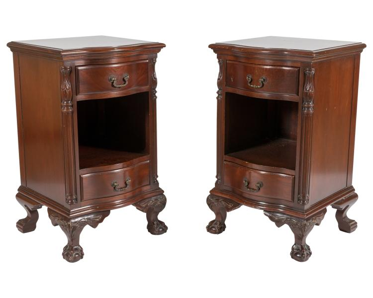 Mahogany Claw Foot Nightstands - Pair