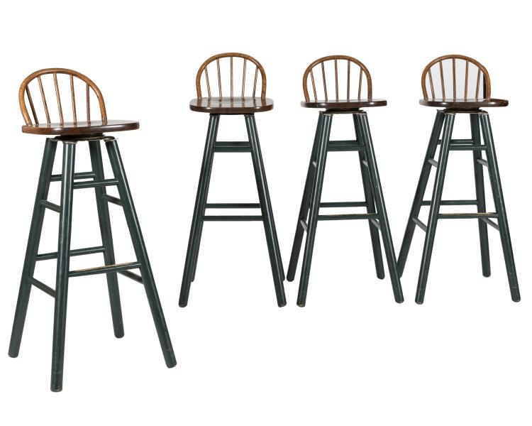 Four Painted and Oak Stools