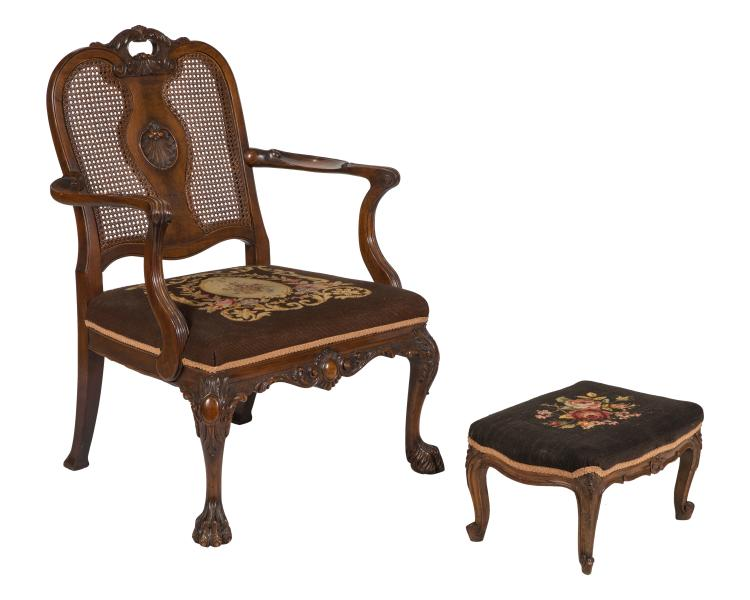 French Style Walnut Chair and Ottoman