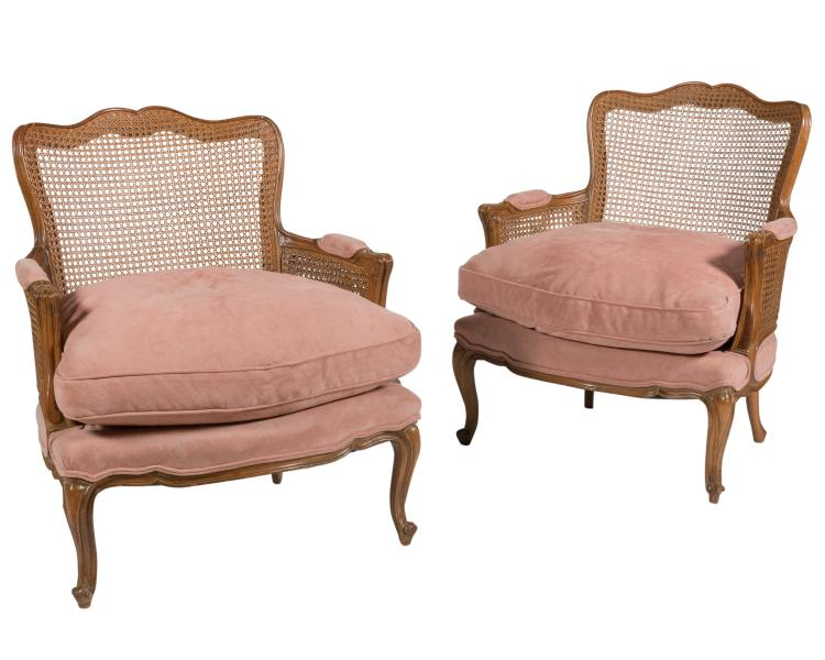 Pair Double Caned French Bergere Chairs