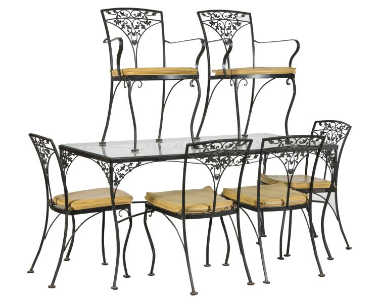 Woodard Iron Table and Six Chairs