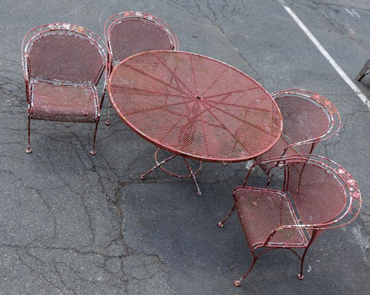 Expanded Metal Table and Four Chairs