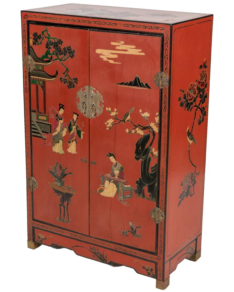 Oriental Red Lacquer Painted Cabinet