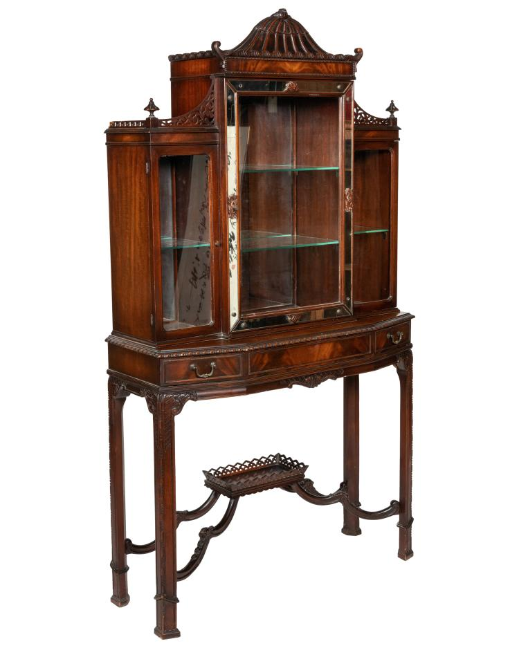 Mahogany Chippendale Style Curio Cabinet