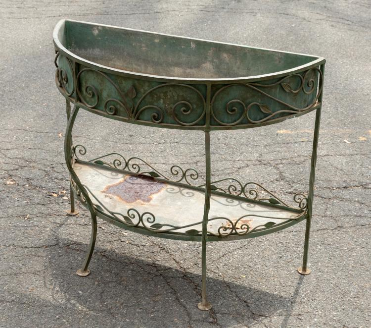 Wrought Iron Demilune Planter