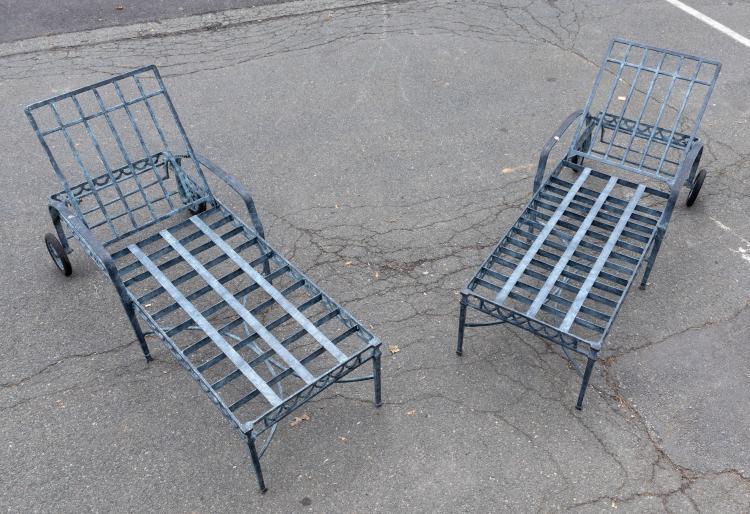 Cast Aluminum Chaise Lounges - Pair