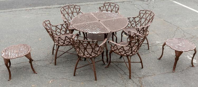Cast Aluminum Bamboo Style Porch Set - 9 Piece