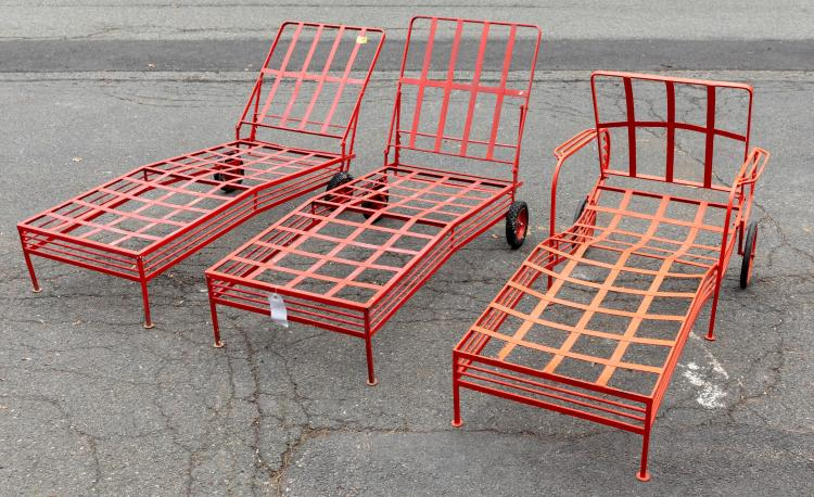 Deco Style Iron Chaise Lounges - Three