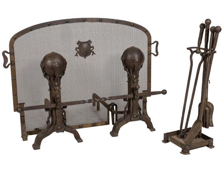 Art & Crafts Andiron, Tools and Fire Screen