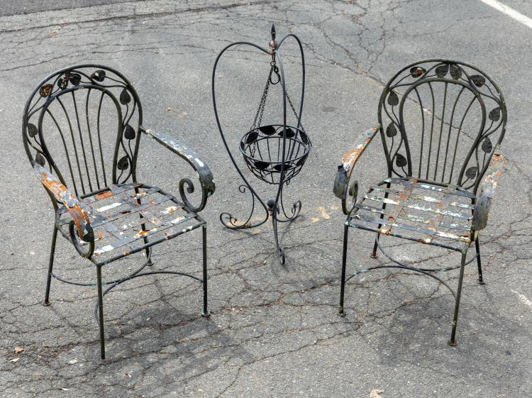 Leaf Pattern Arm Chairs and Planter