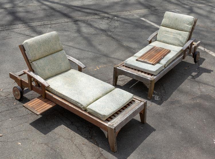 Teak Chaise Lounges - Pair